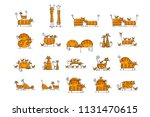 cute striped cats family ... | Shutterstock .eps vector #1131470615