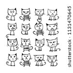 cats collection  sketch for... | Shutterstock .eps vector #1131470645
