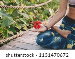young woman meditate in lotus... | Shutterstock . vector #1131470672