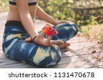 young woman meditate in lotus... | Shutterstock . vector #1131470678