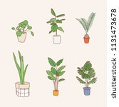 various kind of plant pots.... | Shutterstock .eps vector #1131473678