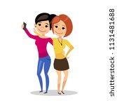 girlfriends make selfie. girls... | Shutterstock . vector #1131481688