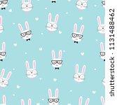 cute rabbit seamless pattern... | Shutterstock .eps vector #1131488462
