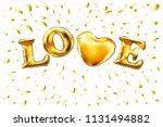 raster copy heart gold foil... | Shutterstock . vector #1131494882