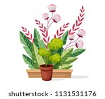 plants in pot. indoor and... | Shutterstock .eps vector #1131531176