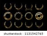 set of golden laurel wreaths... | Shutterstock .eps vector #1131542765