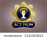 golden badge with trophy icon... | Shutterstock .eps vector #1131552812