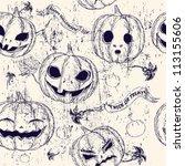 halloween seamless background... | Shutterstock .eps vector #113155606