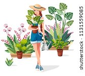 beautiful women hold flower pot ... | Shutterstock .eps vector #1131559085