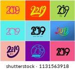 happy new year. set of 2019... | Shutterstock .eps vector #1131563918