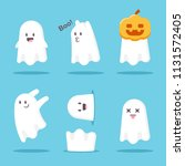 cute cartoon ghost set. vector... | Shutterstock .eps vector #1131572405