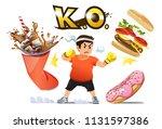 man overcoming the desire to... | Shutterstock .eps vector #1131597386