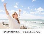 beautiful young tourist woman...   Shutterstock . vector #1131606722