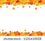 Stock vector set of autumn seamless footer and header for websites ad decoration falling leaves illustration 1131610028