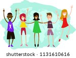 children of different... | Shutterstock .eps vector #1131610616
