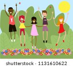 happy children. children of... | Shutterstock .eps vector #1131610622
