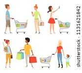 peoples shopping. vector... | Shutterstock .eps vector #1131621842