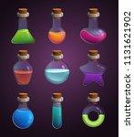 glass bottles with various... | Shutterstock .eps vector #1131621902