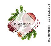hand drawn pomegranate... | Shutterstock .eps vector #1131621905