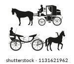 vintage carriages with horses.... | Shutterstock .eps vector #1131621962