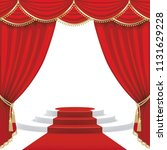 theater stage  with red curtain.... | Shutterstock .eps vector #1131629228