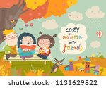 happy children reading books in ... | Shutterstock .eps vector #1131629822