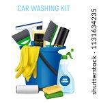 car washing kit realistic... | Shutterstock .eps vector #1131634235