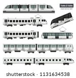 trams and trains set | Shutterstock .eps vector #1131634538