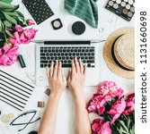 flat lay styled office desk... | Shutterstock . vector #1131660698
