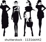 silhouette fashion girls | Shutterstock .eps vector #113166442