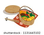 japanese food box with salmon... | Shutterstock .eps vector #1131665102