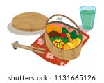 japanese food box with salmon... | Shutterstock .eps vector #1131665126
