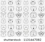 seamless pattern with outline... | Shutterstock .eps vector #1131667082