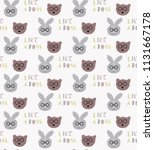 seamless pattern with cute hare ... | Shutterstock . vector #1131667178