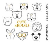 set of outline funny animals... | Shutterstock .eps vector #1131667298