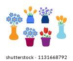 spring flowers. cute vector...   Shutterstock .eps vector #1131668792