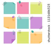 sticky note paper and clips ... | Shutterstock .eps vector #1131686525