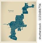 modern city map   tampa florida ... | Shutterstock .eps vector #1131686756