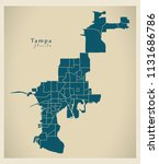 modern city map   tampa florida ... | Shutterstock .eps vector #1131686786