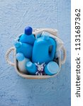 basket of baby cosmetics on... | Shutterstock . vector #1131687362