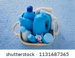 basket of baby cosmetics on... | Shutterstock . vector #1131687365