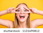 close up portrait of happy and... | Shutterstock . vector #1131690812