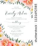 wedding floral invite ...   Shutterstock .eps vector #1131692585
