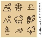set of 9 nature outline icons... | Shutterstock . vector #1131695252