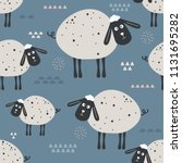 sheeps  hand drawn backdrop.... | Shutterstock .eps vector #1131695282