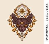 black sphinx cat head with...   Shutterstock . vector #1131701156
