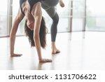 a beautiful yoga woman... | Shutterstock . vector #1131706622
