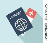 passport and fly ticket icon | Shutterstock .eps vector #1131708692