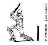 vector sketch the cricket player | Shutterstock .eps vector #1131723338
