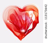 Beautiful Valentine's background with abstract red heart, illustration - stock photo